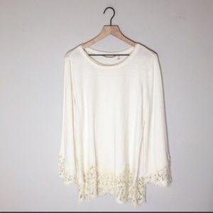 Soft Surroundings Cream Lace Trim Sweater Tunic